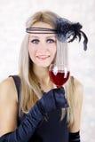 glass rött vinkvinna för härligt mode Arkivbild