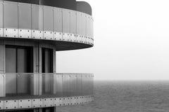 Glass railings on a balconies against sea horizon.  Stock Photography