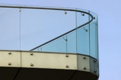 Glass railings on a balcony.  Royalty Free Stock Photography