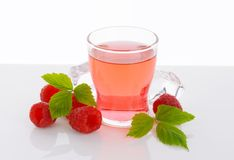 Glass of raspberry flavored water Royalty Free Stock Photos