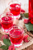 Glass with Raspberry Liqueur. And some fresh fruits Royalty Free Stock Photo