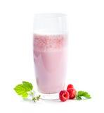 Glass of raspberry  milkshake and berries Stock Image