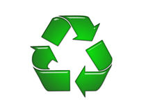 Glass recycle bin. On white background Royalty Free Stock Image