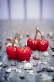 Glass red cherry decor object Stock Image