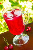 A glass of red cherry juice with ice cubes and cherries and red currants on a natural background Stock Image