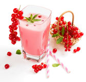 Glass of red currant  milkshake Stock Photography