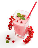Glass of red currant smoothie Royalty Free Stock Images