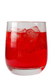Glass of red drink with ice Stock Images