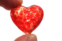 Glass red heart isolated Royalty Free Stock Image