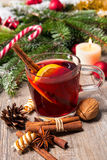 Glass of red mulled wine Stock Photos