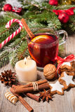 Glass of red mulled wine Royalty Free Stock Photos