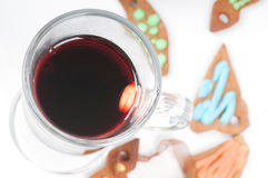 Glass of red mulled wine Stock Photo