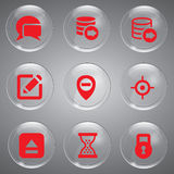 Glass Red Set Icons. Collection red icons vector illustrations in glass Stock Images