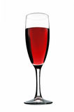 Glass with red vine. Isolated on a white background Stock Photos
