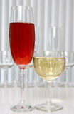 Glass of red and white wine Royalty Free Stock Photography