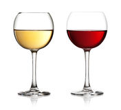 Glass of red and white wine royalty free stock photos