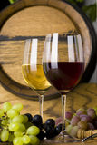 Glass of Red White Wine. Two glasses of wine red and white with grapes Stock Images
