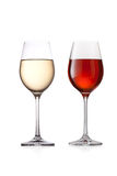 Glass of red and white wine. On a white background royalty free stock photo