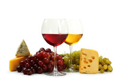 Glass of red and white wine, cheeses and grapes isolated on a white Stock Image