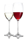 Glass of red and white wine with reflection Stock Photography