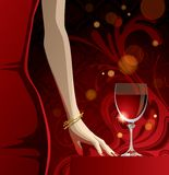 Glass of red wine. Raster version of vector glass of red wine and woman's hand with gold bangles Royalty Free Stock Photography