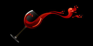 Glass of red wine. On a black background Royalty Free Stock Photos
