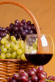 Glass of red wine. With grapes and a basket royalty free stock photo