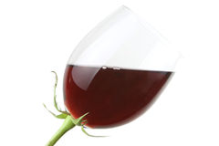 Glass with red wine as a flower. Isolated on white Stock Photos