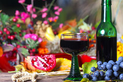 Glass of red wine on autumnal Terrace Royalty Free Stock Photography