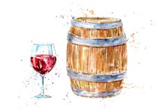 Glass of a red wine and barrel.Picture of a alcoholic drink. Watercolor hand drawn illustration.White background royalty free illustration