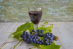 Glass of red wine and black grapes with leaves Royalty Free Stock Photos