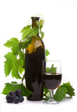 Glass red wine and bottle stock image