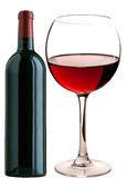 Glass of red wine and a bottle Stock Photos