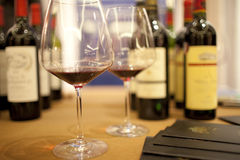 Glass of red wine and bottle Stock Image