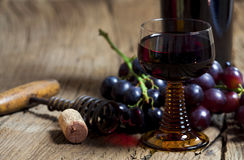 Glass of red wine and bottle Royalty Free Stock Photo