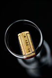 Glass of red wine and bottle Stock Photo