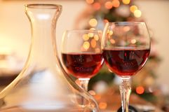 Glass red wine bottle Royalty Free Stock Photography