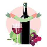Glass of red wine, bottle, grapes, ornamental. Flat illustration Royalty Free Stock Photo