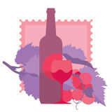 Glass of red wine, bottle, grapes, ornamental. Flat illustration Stock Photos