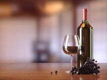 Glass of red wine, glass bottle of wine, grapes, wooden table, blurred restaurant, cafe on background, copy text place. 3D illustration royalty free stock photography