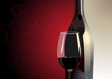 Glass of red wine with a bottle. Illustration of a close up view of a glass of red wine with a bottle behind it on a two tone background in grey and red with a Stock Images