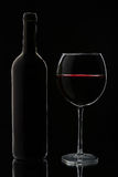 Glass of red wine and bottle Stock Images