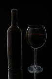 Glass of red wine with bottle Stock Photography