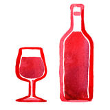 Glass of red wine and a bottle royalty free illustration