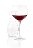 Glass of red wine with carafe Royalty Free Stock Images