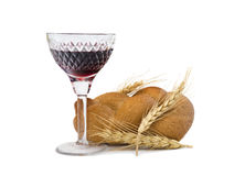 Glass of red wine and challah Stock Photography