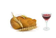 Glass of red wine and challah Stock Image