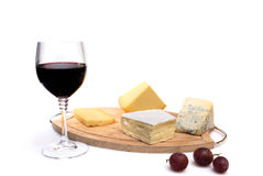 Glass of red wine and cheese Royalty Free Stock Image