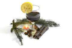 Glass with red wine with christmas decoration Nov 14, 2014 Royalty Free Stock Photography