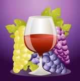 Glass of red wine and cluster of vine Royalty Free Stock Images